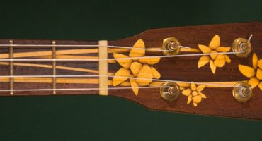 Custom pony banjo with daffodil inlay