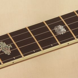 Custom Gibson TB-2 neck with hand engraved inlays and radiused fingerboard
